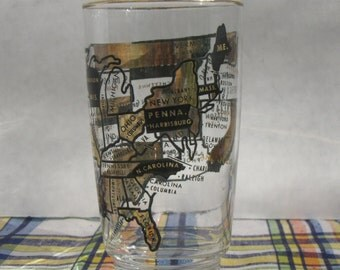Mid Century Drinking Glass With Map of United States Gold and Black Retro Tumbler Barware Collectable Only Forty-Eight States on Glass