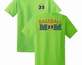 Baseball Mom Chevron Numbered T-shirt