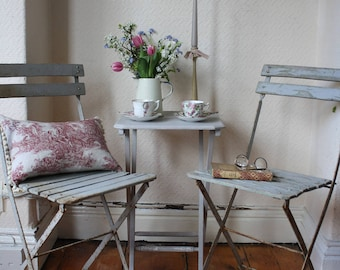 Pair of Original Grey Vintage French Folding Garden or Cafe Chairs