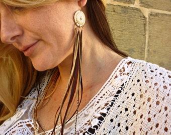 Sunlight, feather earrings, bronce concho, boho,beige, tan long feathers.