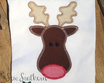 Vintage Reindeer Applique Design ~ Buttonhole Finish ~ Quick Stitch ~ Instant Download