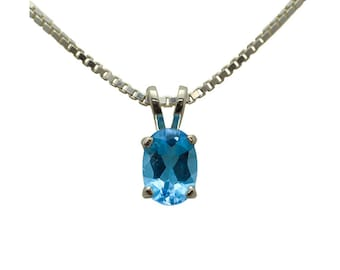 Sterling Silver Blue Topaz Pendant with Chain