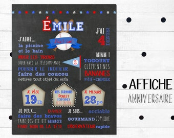"""Displays first personalized birthday """"Baseball"""" _FICHIER numerique_fete baby 1 year, slate table, Blackboard"""