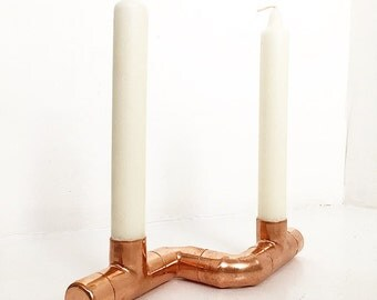 Duo Kupfer Kerze Halter   Modern / Rose Gold / Industrielle Dekor /