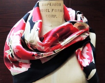 ECHO Silk Scarf: Red, Pink, Green. Valentine Floral Head Scarf, Hip Boho Mid-Century Retro. 34 in Square. Pretty Add a Charm Scarves SC136