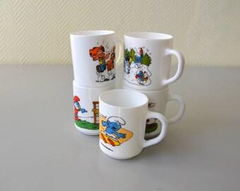 "Vintage arcopal mug / large cups collector ""smurf"" ""schtroumpf"" Peyo 80/90s"