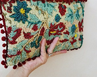 Handmade Seed Bead Embroidered Clutch Vintage Kilim Design Clutch Bohemian Wedding Indian Festive Clutch Bag Festival Boho Bride Gift Women