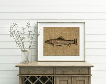 Trout Print - Rainbow Trout Print - Burlap Print - Fish Decor - Fishing Decor - Gift For Fisherman - Trout Sign - Trout Art - Trout Wall Art
