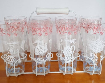 Vintage Kitchen Aids 8 Drinking glasses with Carrier Rack - Pink, White, Blue Tumblers - Set of 9