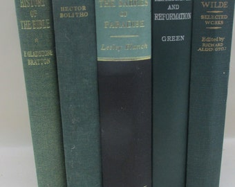 Scandinavian Forest -Set of Vintage Black and Green Decorative Books - Instant Library - Old Book Collection