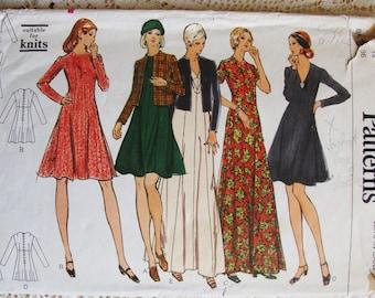 "Vintage Vogue Pattern Princess Seamed Dress with Jacket * 1970's * 36"" Bust"