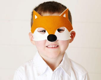 Fox Mask - Woodland Mask - Animal Mask - Fox Costume - Mr Fox - Woodland Animal Party - Animal Costume - Fox Disguise - Felt Mask