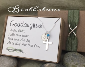 Baptism Gift for Goddaughter - First Communion Gift for Her - Cross Birthsone Necklace Sterling Silver Godchild Gift - Goddaughter Necklace