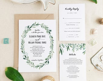 Greenery Wedding Invitation Template • Printable Wedding Invitation Suite • Modern Rustic Wedding • Calligraphy • Word or Pages • MAC or PC