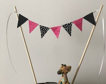 Birthday Cake Topper / Bunting / Fabric Pennant Flags / Baby Shower / Girl / Party / Pink, Black and Black and White Polka Dot