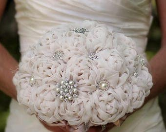 Fabric Wedding Bouquet | Wedding Bouquet | Bridal Bouquet | Wedding Flowers | Fabric Bridal Bouquet | Fabric Flowers | Brooch Bouquet