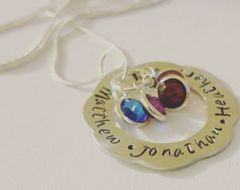 Personalised name necklace with birthstones