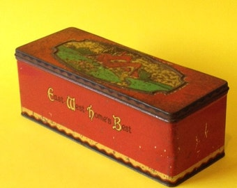 Vintage CWS biscuit tin - thatched cottages