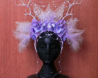 White and lilac headpiece, snow queen headdress with pearls, horns, flowers, feathers, fantasy fairytale wedding headband