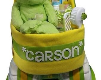 Diaper Cake Frog Neutral Plush Bassinet Green Yellow Baby Gift