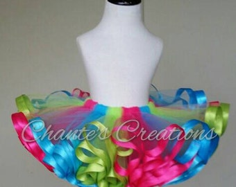 Hot pink, turquoise and lime ribbon trimmed tutu ONLY