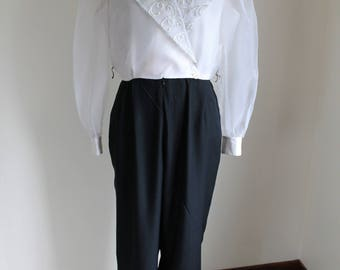 1980s Black White Jumpsuit by JR Nites Petites Caliendo, Size 12 One Piece, Tapered Leg
