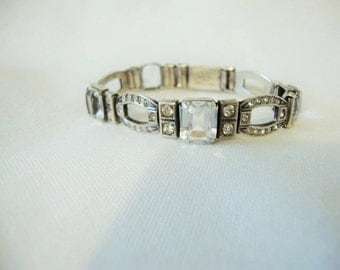 Signed Payco,  Sterling Silver Art Deco Open Link Rhinestone Bracelet With Large Pal Blue Crystals