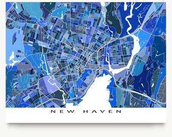 New Haven Map Art Print, Hartford Connecticut, Yale University