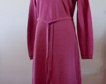 Pink 100% Wool Knit Sweater 80's Sweater Dress by Castleberry London/New York Size 12 M-833