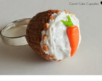 Carrot Cake Cupcake Ring, Minature Food Jewelry, Kawaii Jewelry, Inedible Jewelry, Fake Food Jewelry, Kid's Jewelry, Cupcake Ring, Cake Ring