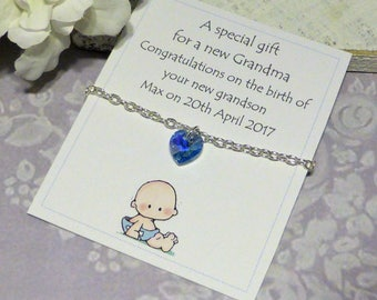 Personalised Gift for New Grandma Baby Boy ~ Swarovski Crystal Silver Bracelet Personalized Name Date of Birth ~ Grandson Grandmother Nana