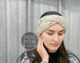 PATTERN: Aurora Earwarmer   Knit-look turban headband   Chunky knit look twisted winter headwear   diy easy crochet pattern   Adult headband