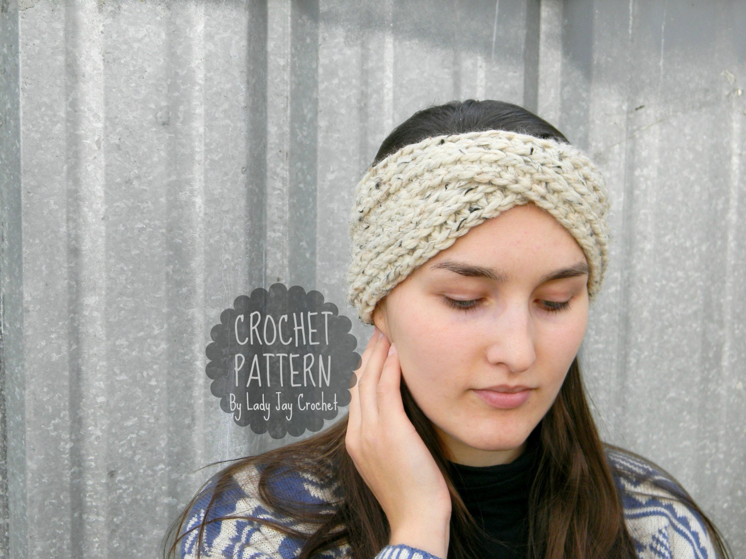 Pattern aurora earwarmer knit look turban headband chunky this is a digital file bankloansurffo Image collections