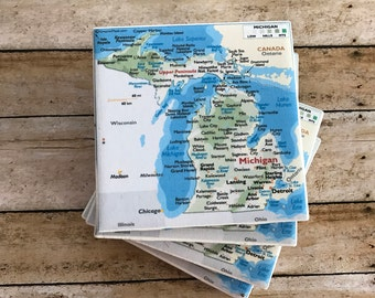 Michigan Drink Coasters - Map of Michigan -  4 Pack of Coasters - Great Gifts
