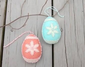 Felt Easter Eggs/ Felt Ornament / Easter Decor / Easter Ornaments/ Handmade/ Set of 2