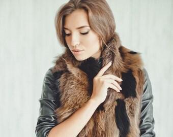 Real raccoon fur scarf