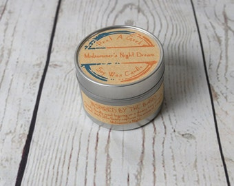 Fandom Candle ~ Midsummer's Night Dream ~ Inspired by the Bard ~ Shakespeare Candles ~ 4oz Soy Candle