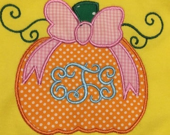 Applique Pumpkin with bow and Monogram