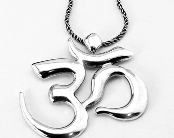 Sterling Silver Om Pendant, Necklace Patina Silver Chain