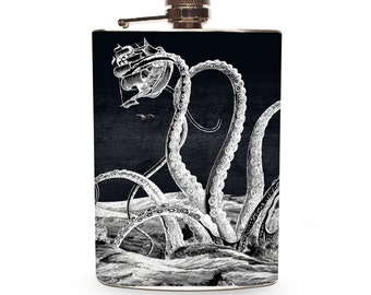 4oz Liquor Flask Kidney Shape Onxy Coloured Stone Inset Tribal Motif