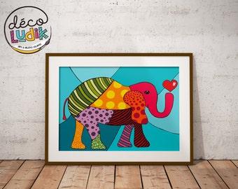 Elephant print, art prints, 3d print, patchwork, 8,5X11, wall art, elephant lover