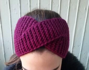 Winter headband, burgundy color, dark red, knitted headband