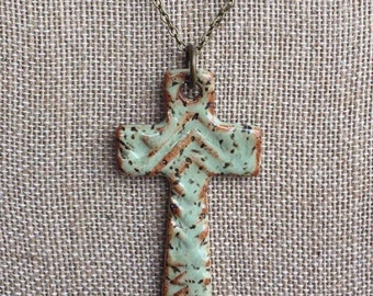 Cross Necklace, Clay Cross Pendant, Ceramic Cross Necklace, Mint Green Cross Necklace, Gifts for Women, Christian Gifts, Gifts under 30