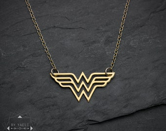 Wonder woman necklace, super hero jewelry, comics jewelry, wonder woman logo pendant, woman necklace, gift for woman.