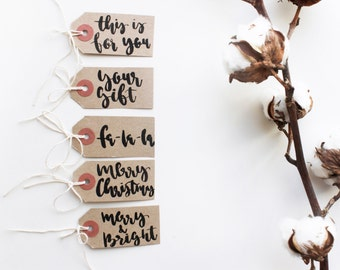 Set of 5x Xmas Hand Lettered Gift Tags Christmas Labels Rustic Kraft Brown Tags Multipack Calligraphy Xmas Quote Brush Lettering Typography