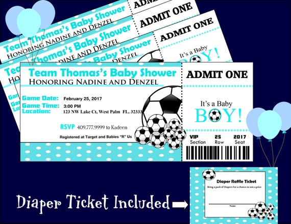 soccer baby shower ticket invitationmatching diaper raffle