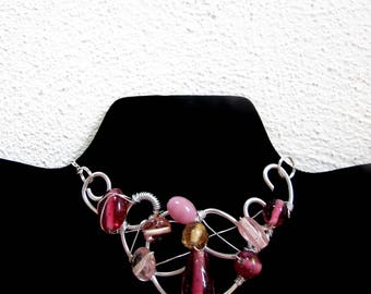 Pink Beaded Choker, Couture Choker Necklace, Fashionista Necklace, Handmade Choker with Pink beads, Wire Wrapped Choker, Aluminum Jewelry
