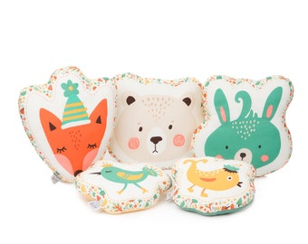 FREE SIPPING Animal Pillows - Fox Pillow, Bear Pillow, Bunny Pillow, Bird Pillow, Kids Pillows, Child Pillow, Animal Cushions, Plush Toys.