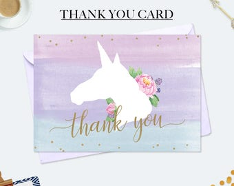 Unicorn thank you cards, unicorn birthday card, unicorn party printables, mothers day card, compliment cards, watercolor card, card for her
