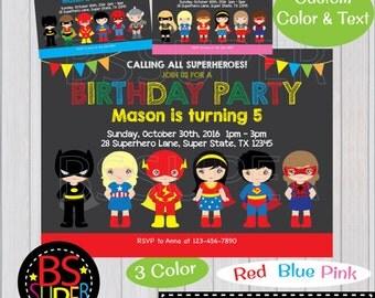 SUPERHERO Birthday Party Invitation, Superhero invitation, Boy & Girl